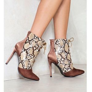 Snakeskin and Suede Bootie Heels NEVER WORN